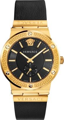 Versace Greca Logo Leather Strap Watch, 41mm
