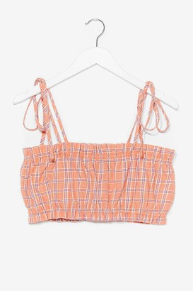Nasty Gal Womens Plaid Your Cards Right Tie Crop Top - Pink