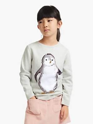 John Lewis & Partners Girls' Sequin Penguin Jumper, Grey