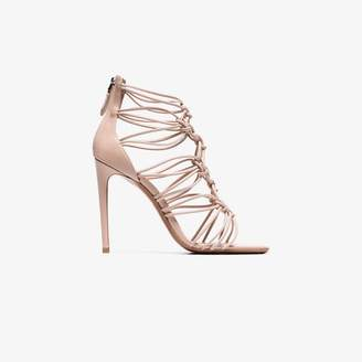 Alaia nude 10 leather knot caged high heels