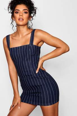 boohoo Zip Back Stripe Bodycon Dress