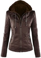 FLOWER FAERIE Women's Springs Hooded Faux leather Jacket Full-Zip Slim Fir Coat