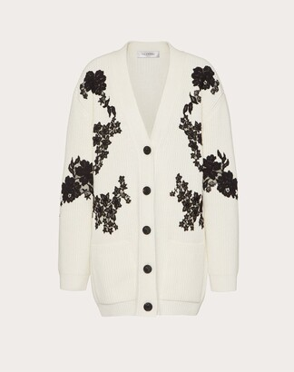 Valentino Cashmere Wool And Lace Cardigan Women Ivory/black Virgin Wool 70%, Cashmere 30% L