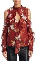 Nicholas Celeste Cold-Shoulder Silk Top