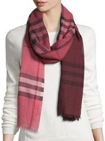 Burberry Ombre Giant Check Wool/Silk Gauze Scarf, Blush Pink