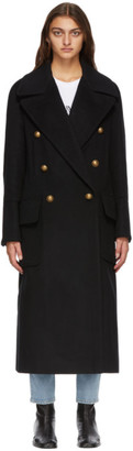 Balmain Black Wool Double-Breasted Oversized Coat