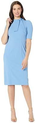 Donna Morgan 3/4 Sleeve Side Tie Neck Sheath Crepe Dress