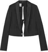 Lanvin Cropped Embellished Wool-twill Blazer - Black