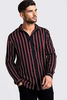 BoohoomanBoohooMAN Mens Navy Black & Red Long Sleeve Stripe Shirt, Navy
