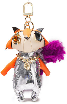 Tory Burch Embellished Sequined Leather And Faux Fur Keychain