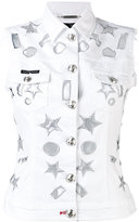 Philipp Plein star detail gilet - women - Cotton/Spandex/Elastane - M