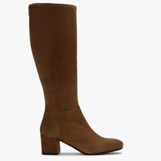 Lamica Slim Tan Suede Low Block Heel Knee Boots