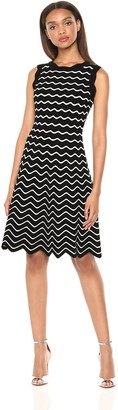 Milly Women's Knit Textured Wave Sleeveless Flare Dress Black/White S