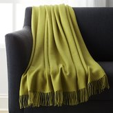 Crate & Barrel Lima Alpaca Olive Green Throw Blanket