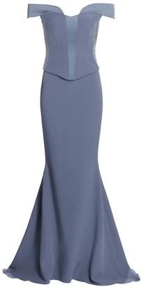 Safiyaa Gina Off-The-Shoulder Corset Mermaid Gown