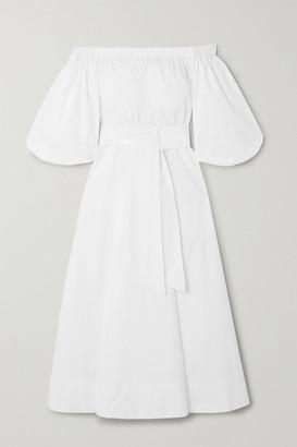 Gabriela Hearst Net Sustain Off-the-shoulder Belted Organic Cotton-poplin Midi Dress - White