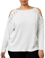 I.N.C International Concepts Plus Embellished Cold-Shoulder Sweater
