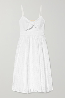 MICHAEL Michael Kors Knotted Cutout Broderie Anglaise Cotton-voile Dress - White