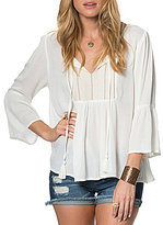 O'Neill Jade Split V-Neckline Tassel-Tie Bell-Sleeve Embroidered Peasant Top