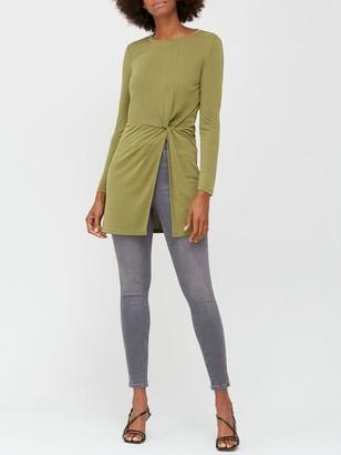 Very Soft Touch Twist Detail Tunic - Khaki