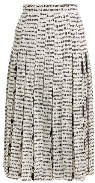 Diane von Furstenberg Gardena Logo Print Pleated Silk Skirt - Womens - Black White