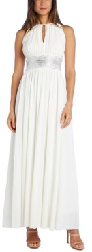 R & M Richards Embellished Keyhole-Cutout Gown