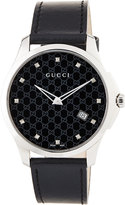 Gucci 40mm G-Timeless Round Watch w/ Leather Strap, Black
