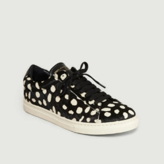 Zespà Black and White Leather ZSP4 Pony Sneakers - 36 | leather | Black / White