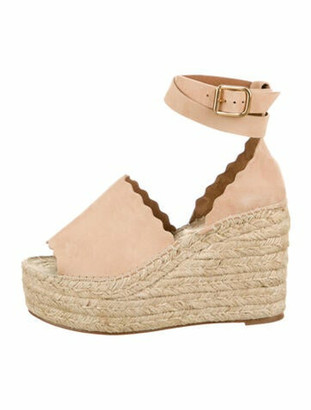 Chloé Suede Wedge Sandals Nude