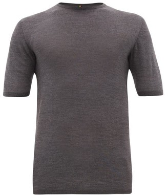 Iffley Road Exmoor Crew-neck Merino-wool T-shirt - Mens - Grey