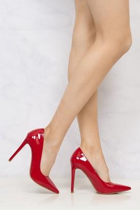 Miss Diva Mila High Stiletto Heel Court Shoe In Red Patent