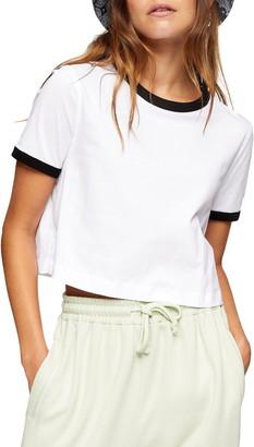 Topshop Crop Ringer T-Shirt