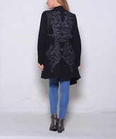 Paparazzi Black Embroidery Drape-Front Open Cardigan