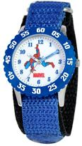 Marvel Kid's Spider-Man Stainless Steel Time Teacher Watch with Rotating Bezel - Blue Strap