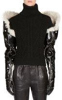 Saint Laurent Long Shearling & Leather Gloves