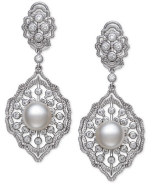 Belle de Mer Cultured Freshwater Pearl (9-10mm) & Cubic Zirconia Drop Earrings in Sterling Silver, Created for Macy's