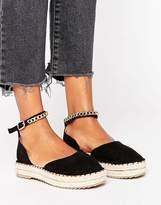 Missguided Chain Detail Flatform Espadrille Sandal