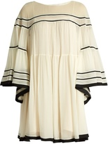 Chloé Contrast-trim silk-crepon dress