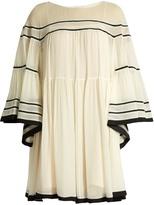 Chloé Contrast-trim silk-crepon dress