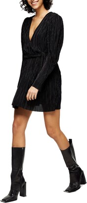 Topshop Plisse Tie Waist Long Sleeve Minidress