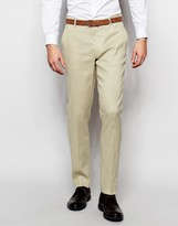 Asos Skinny Suit Trousers In Linen Mix