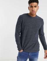 Esprit stripe long sleeve top in navy