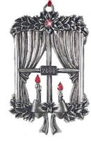 Avon 2008 Pewter Candle Window Christmas Ornament