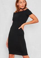 Missy Empire Tulip Black Off The Shoulder Bodycon Midi Dress