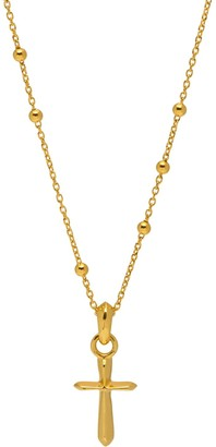 Northskull Dimensional Cross Beaded Necklace In Gold