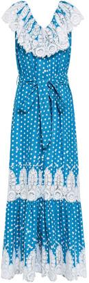 Miguelina Lace-paneled Polka-dot Cotton-gauze Maxi Dress