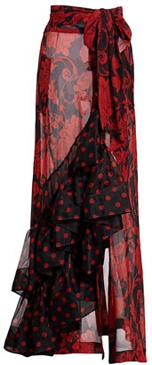 Dries Van Noten Ruffle & Polka Dot Sheer Pareo Skirt