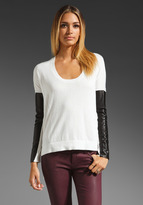 Mason by Michelle Mason Leather Sleeve Top