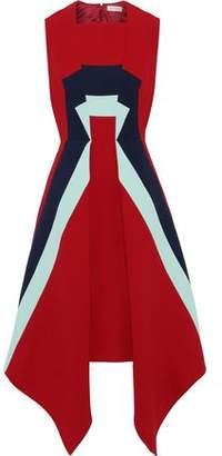 DELPOZO Asymmetric Color-block Wool-crepe Dress