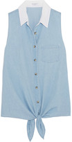 Equipment Mina Tie-front Cotton-chambray Shirt - Light blue